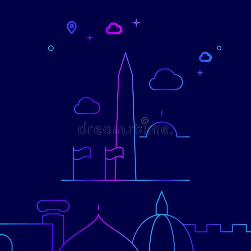 Washington Monument, Etats-Unis dirigent la ligne l'icône, illustration sur un fond bleu-foncé Frontière inférieure relative illustration stock