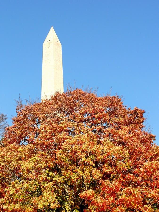 Washington Monument in fall stock photography