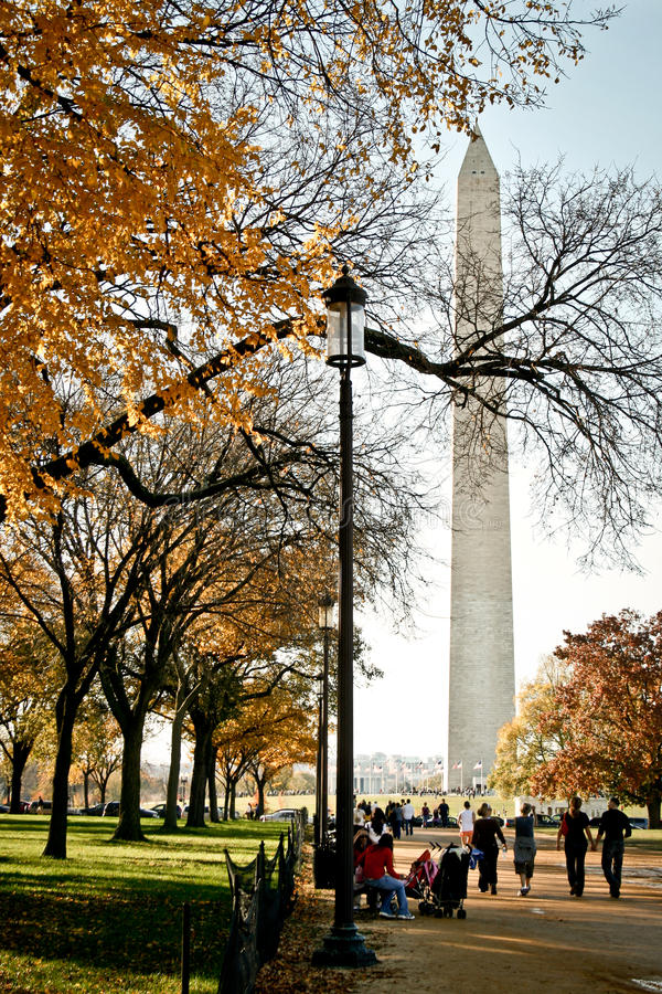 Washington Monument in the Fall royalty free stock image
