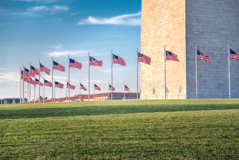 Washington Monument with the flags, Washington DC stock images