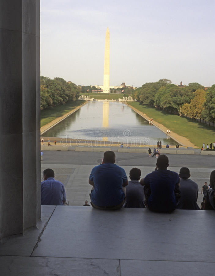 Washington Monument from Lincon Memorial stock images