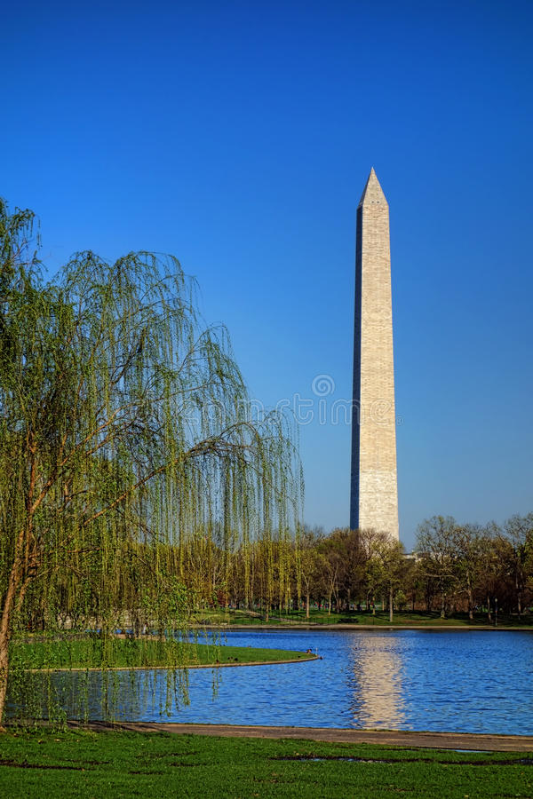 Washington Monument over Constitution Gardens Pond royalty free stock image