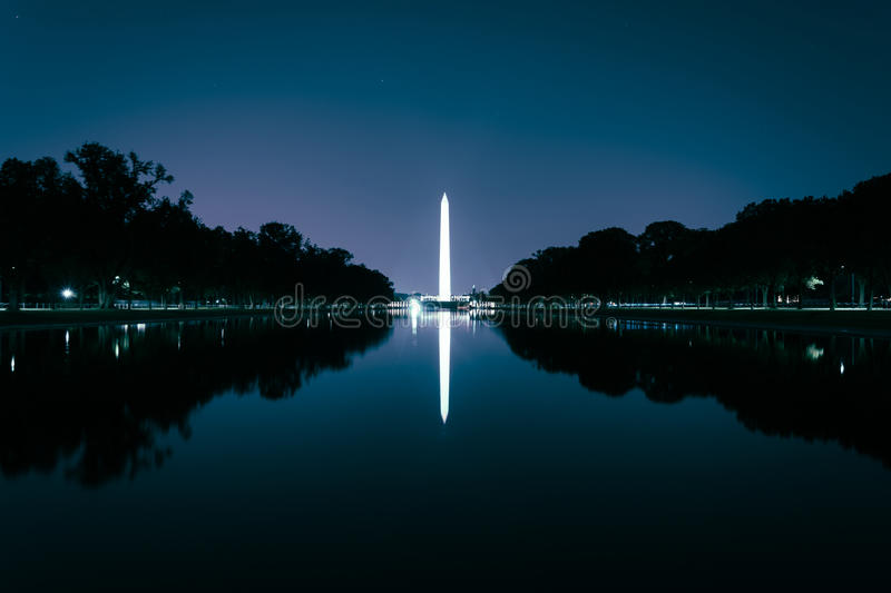 The Washington Monument reflecting in the Reflection Pool at night at the National Mall in Washington, DC. royalty free stock photo