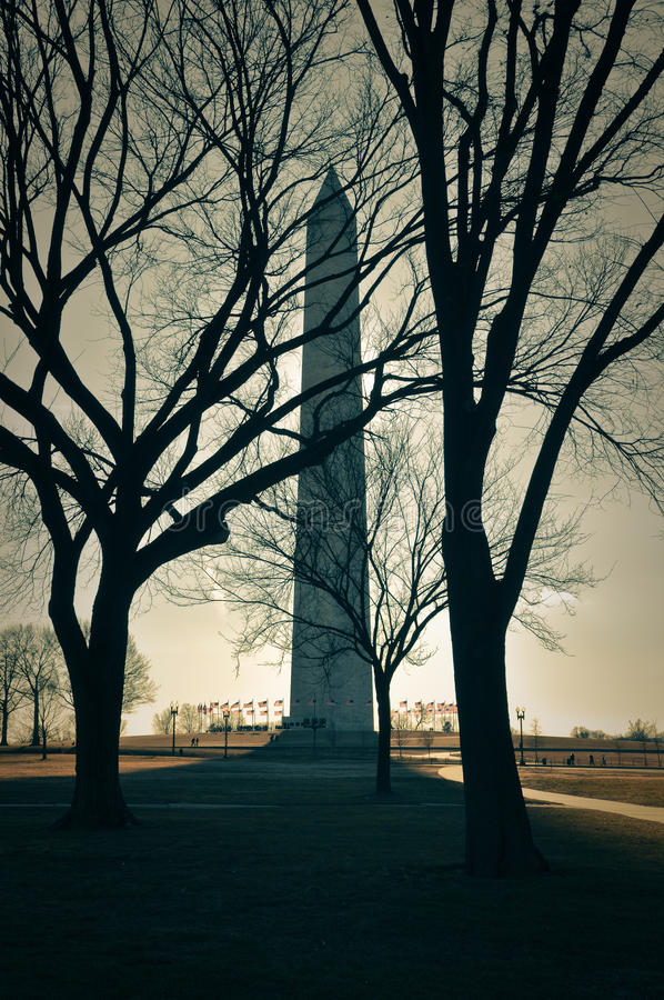 Washington Monument in the United States. Of America on a cold winter day stock photo