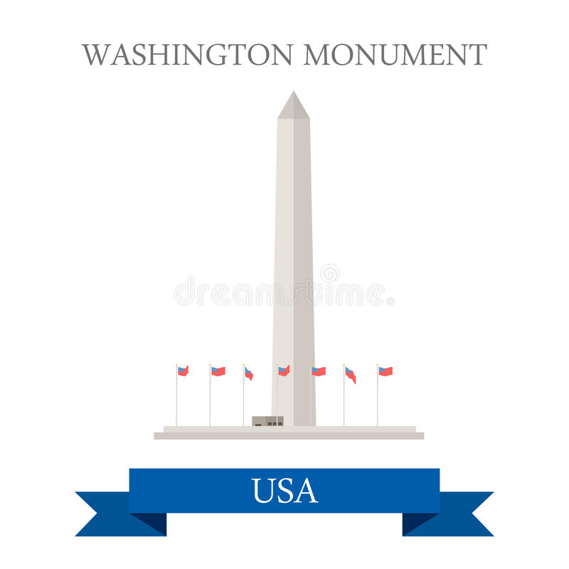 Free Washington Monument United States. Flat Cartoon St Stock Image - 71822861