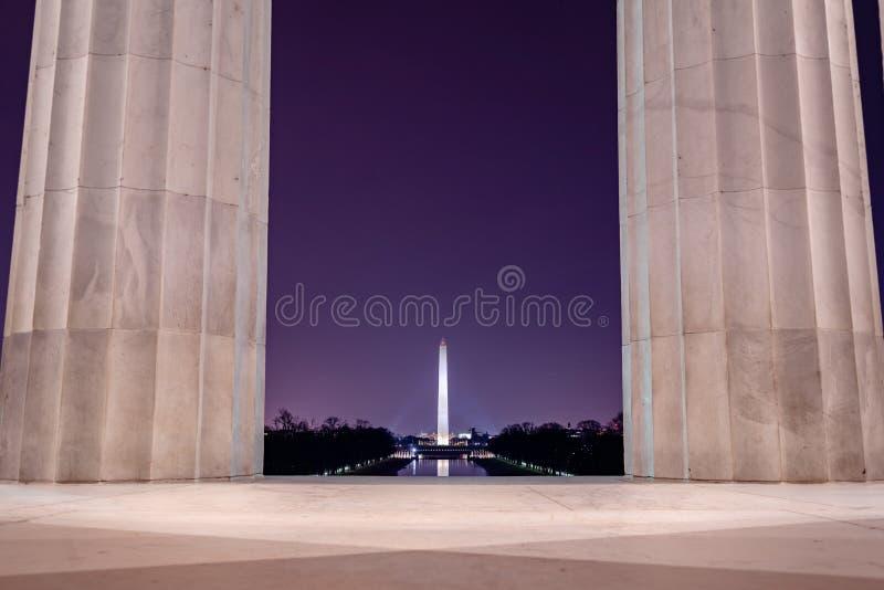 Washington Monument, visto da Lincoln Memorial fotografia stock libera da diritti