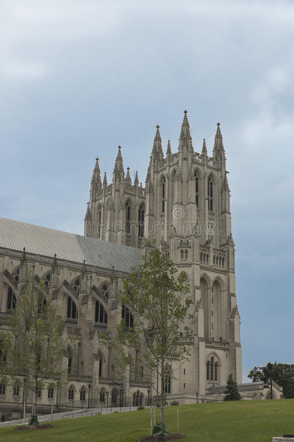 Washington National Cathedral. Side view of Washington National Cathedral, the sixth largest Gothic cathedral in the world stock photography
