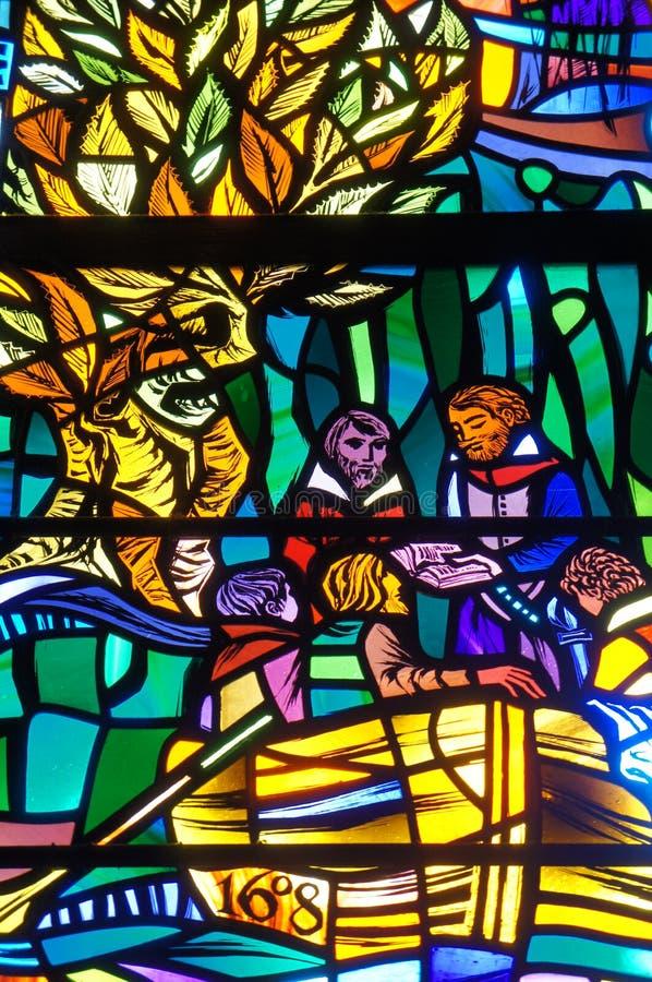 Washington National Cathedral - målat glass arkivfoto