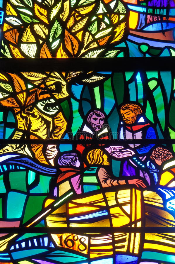 Washington National Cathedral - vitral foto de stock