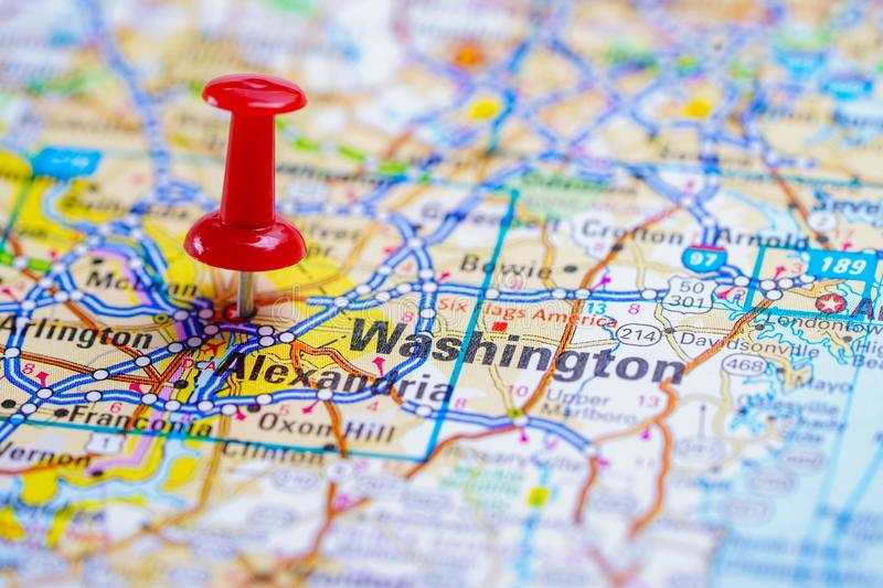 Washington, Oregon road map with red pushpin, city in the United States of America. USA stock photo
