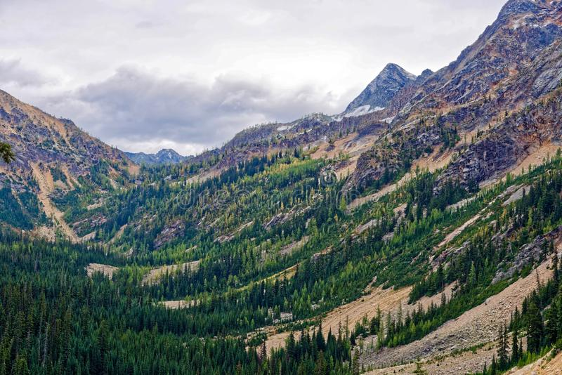Washington Pass, cascatas nortes imagem de stock