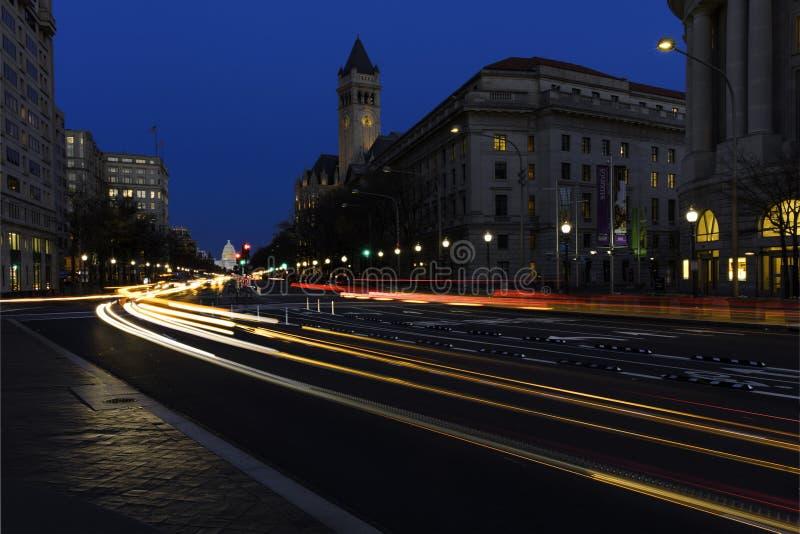 Washington Pennsylvania Avenue, vieux bureau de poste et tour d'horloge images libres de droits