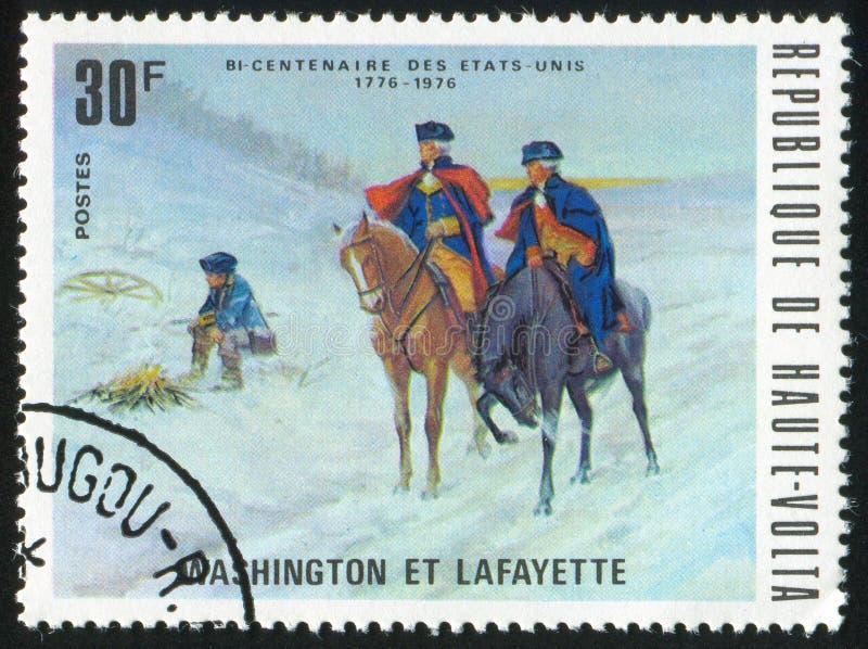 Washington printed by Burkina Faso. BURKINA FASO CIRCA 1975: stamp printed by Burkina Faso, shows Washington and Lafayette, circa 1975 royalty free stock images