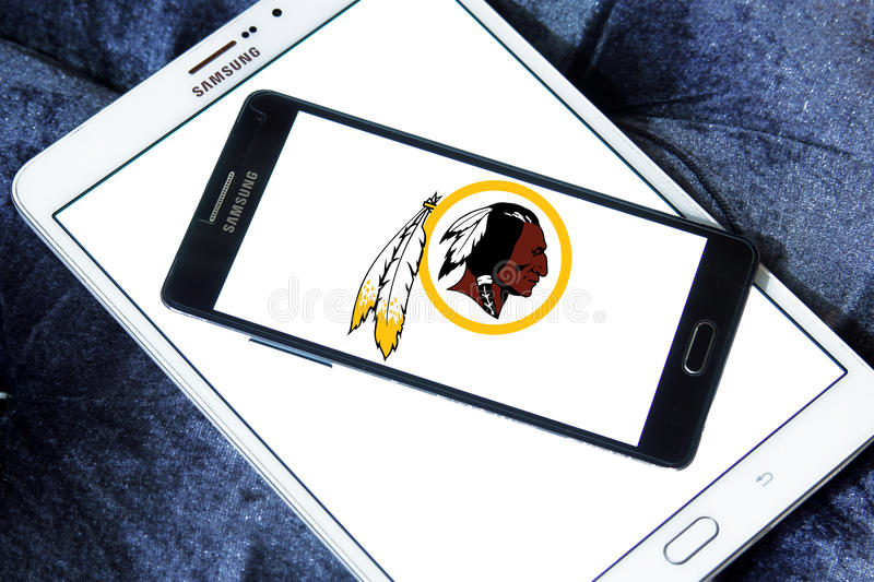 Washington Redskins american football team logo. Logo of Washington Redskins american football team on samsung mobile. The Washington Redskins are a professional stock images