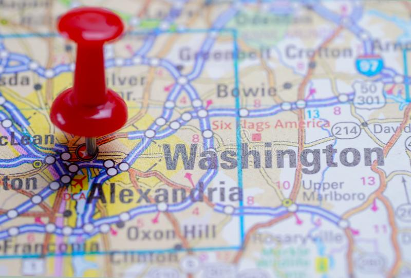 Washington,  road map with red pushpin. City in the United States of America USA royalty free stock photos