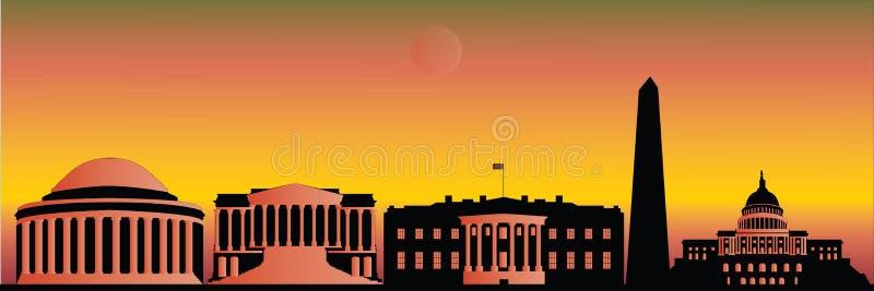 Washington skyline by night stock illustration