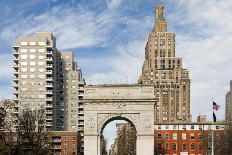 Washington Square Park Arch en New York City foto de archivo