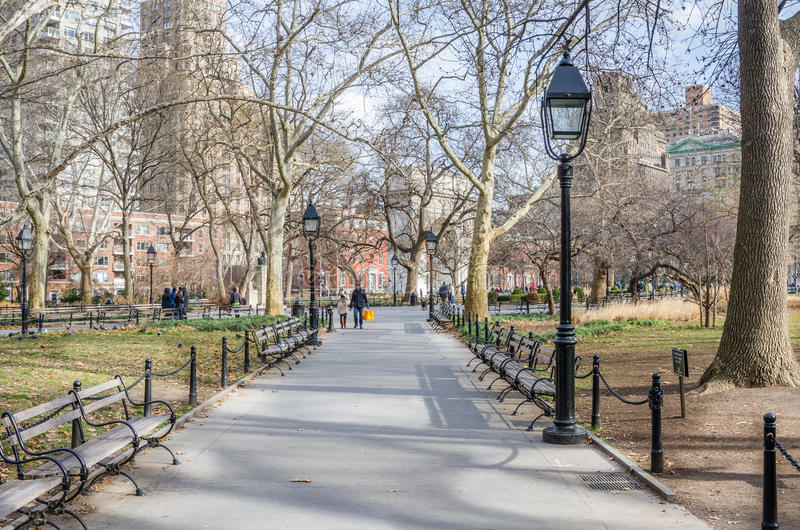 Washington Square Park op Sunny Winter Day royalty-vrije stock afbeelding