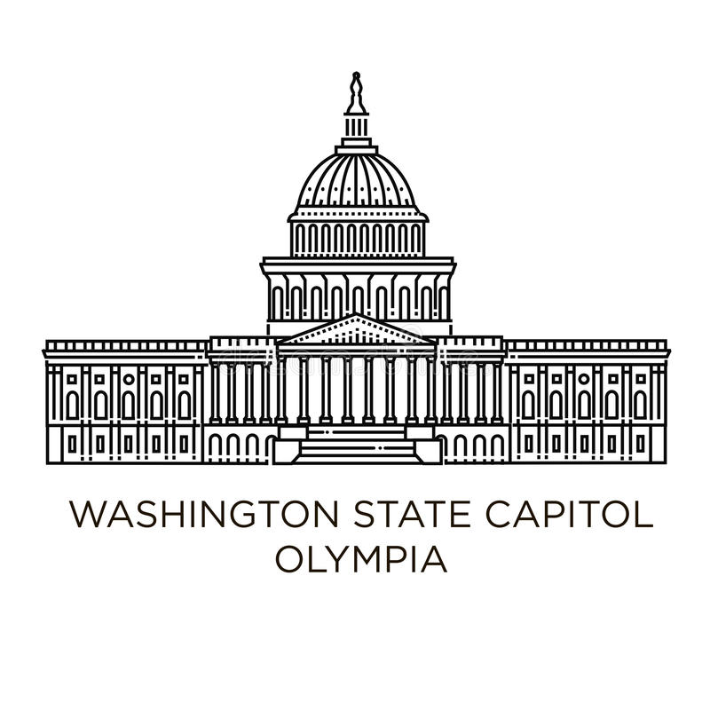 Washington State Capitol i Olympia, Förenta staterna stock illustrationer