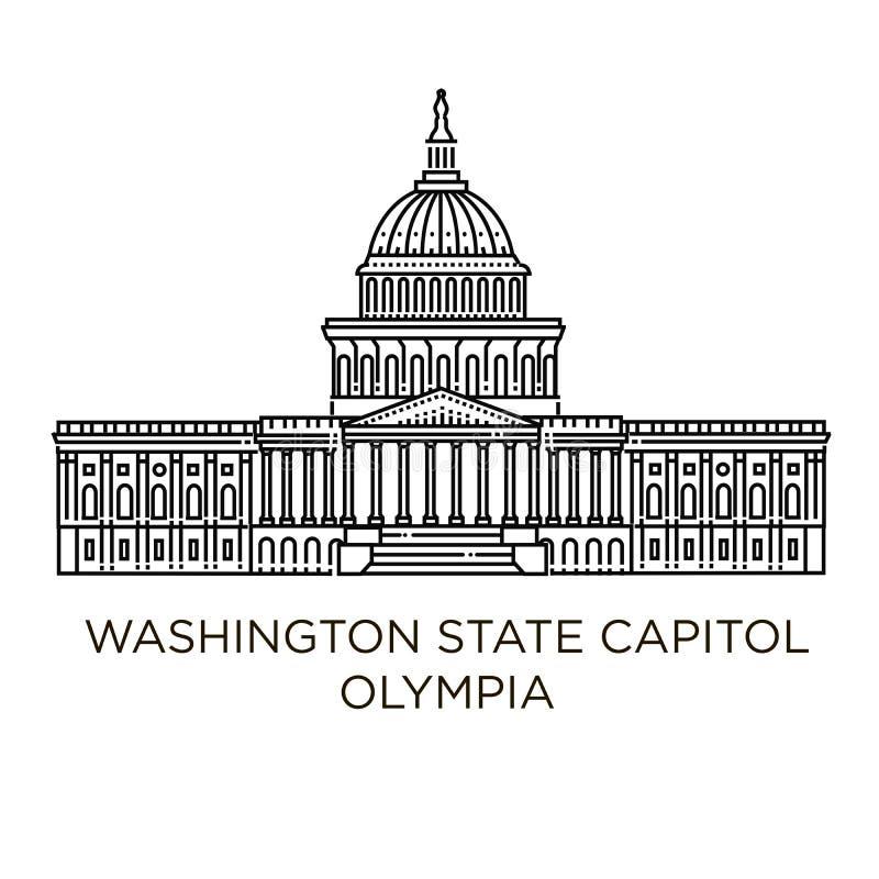 Washington State Capitol in Olympia, Verenigde Staten stock illustratie
