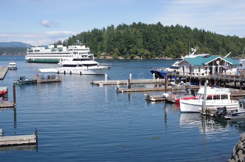 Washington State Ferries arriving at Friday Harbor. On San Juan island in Washington state royalty free stock image