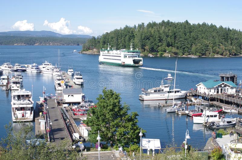 Washington State Ferries departing from at Friday Harbor. On San Juan island in Washington royalty free stock images