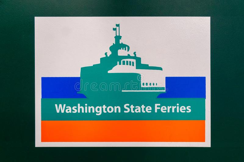 Washington state ferry logo. Washington State Ferries logotype in the Bainbridge Island terminal, WA, USA stock photos