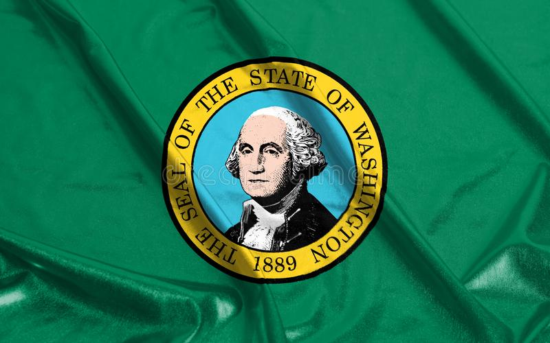 Washington State Flag van Amerika het Gegolfte Golven stock foto's