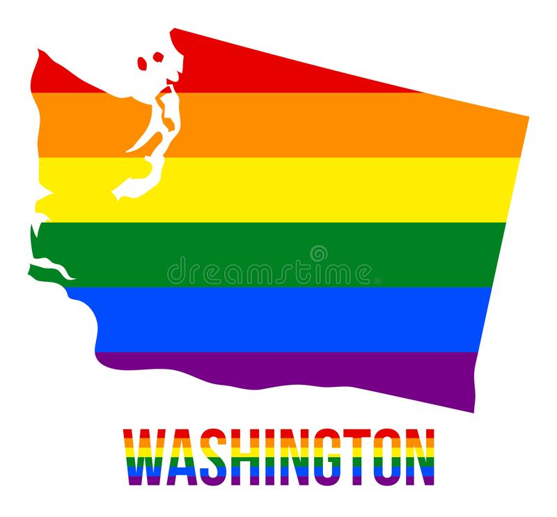Washington State Map in LGBT Rainbow Flag Comprised Six Stripes With Washington LGBT Text. The Flag Comprised Six Stripes; Meaning to Each of The Colors: Life stock illustration