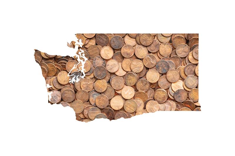 Washington State Map Outline and One Cent United States Money Concept, Piles of Coins, Pennies. Washington State Map Outline and One Cent United States Money royalty free stock photography