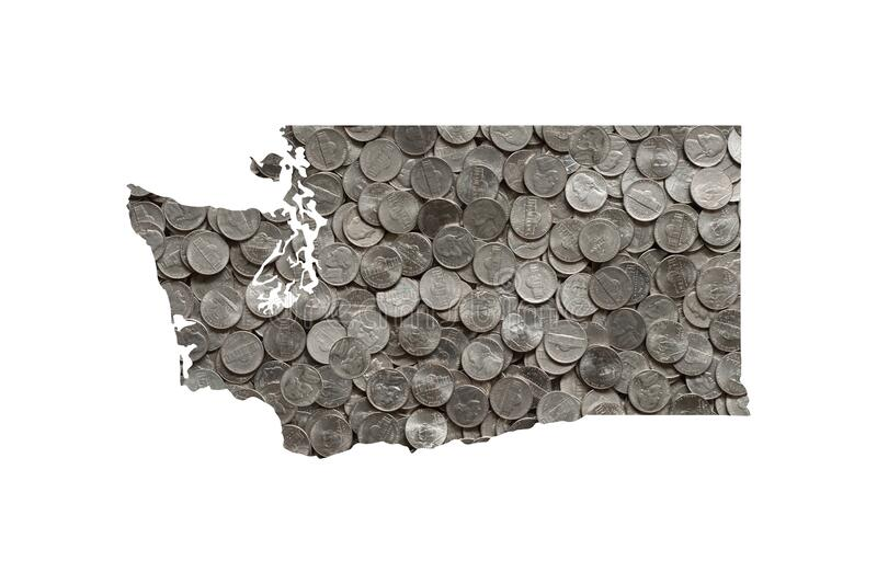 Washington State Map Outline and Pile of Silver Shiny Five Cent United States Nickels, Money Concept. Washington State Map Outline and Pile of Silver Shiny Five royalty free stock photography