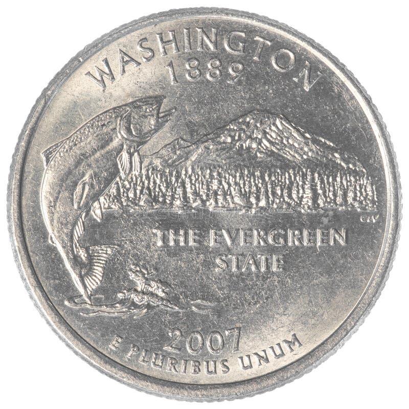 Washington state quarter coin. Isolated on white background stock images