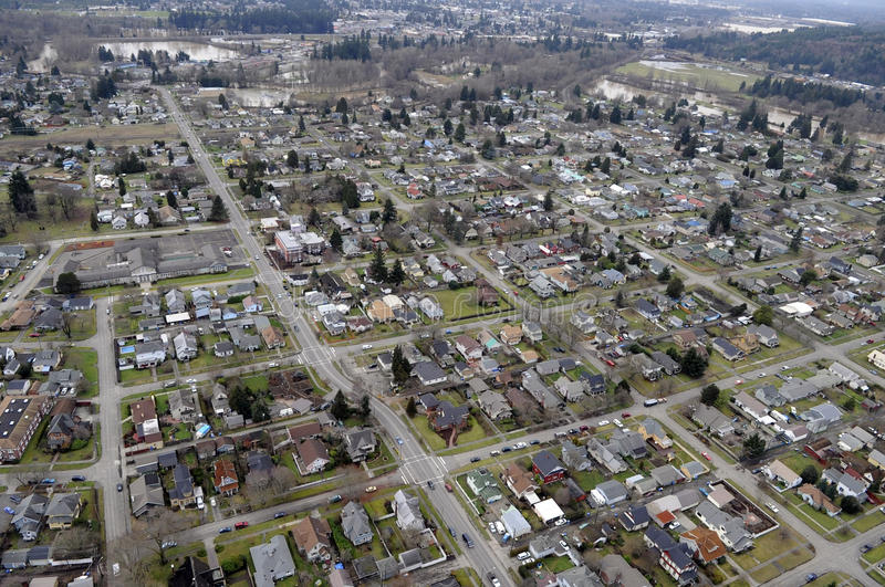 Washington State Town. A typical Washington state rural river valley town stock photography