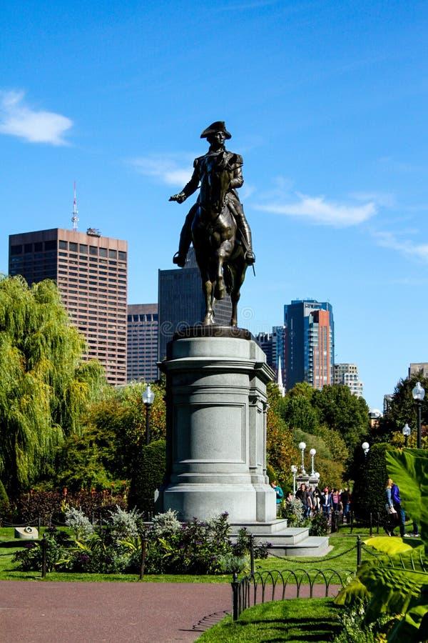 Washington Statue au jardin public de Boston images libres de droits