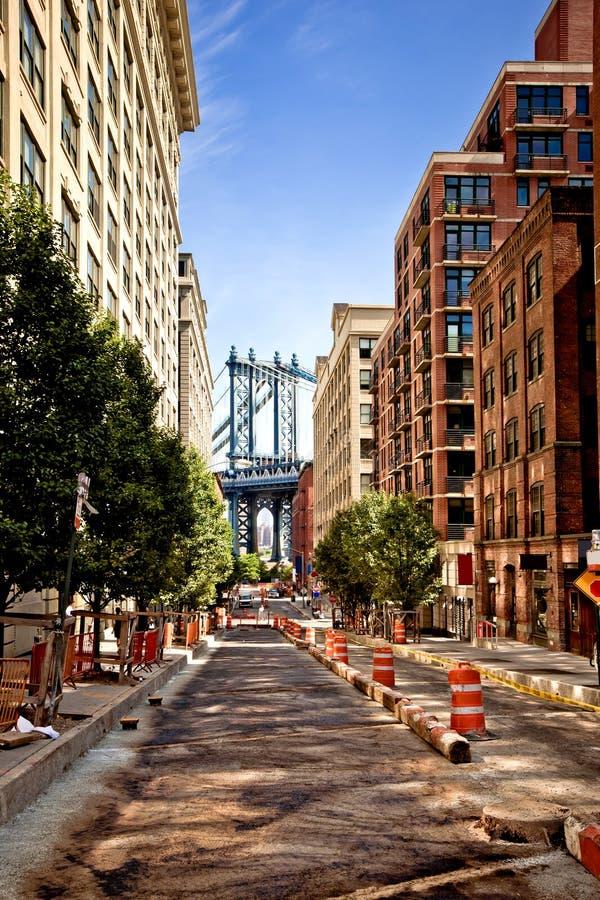 Washington street, Brooklyn, New york. Manhattan bridge,view from Washington street, Brooklyn, New york stock photos