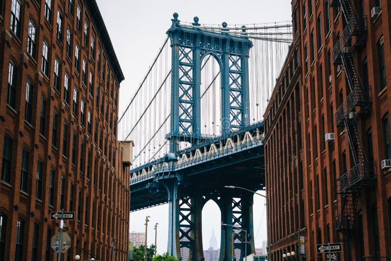Washington Street and the Manhattan Bridge, in DUMBO, Brooklyn, New York City.  royalty free stock images