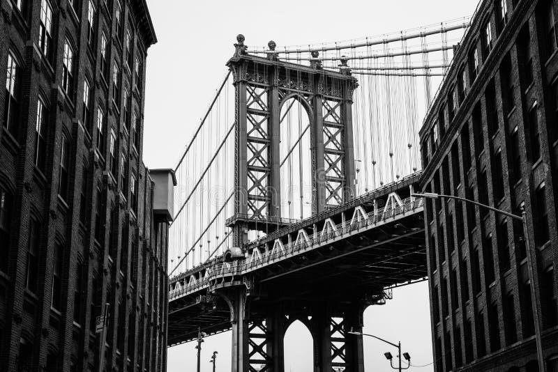 Washington Street and the Manhattan Bridge, in DUMBO, Brooklyn, New York City.  stock photos