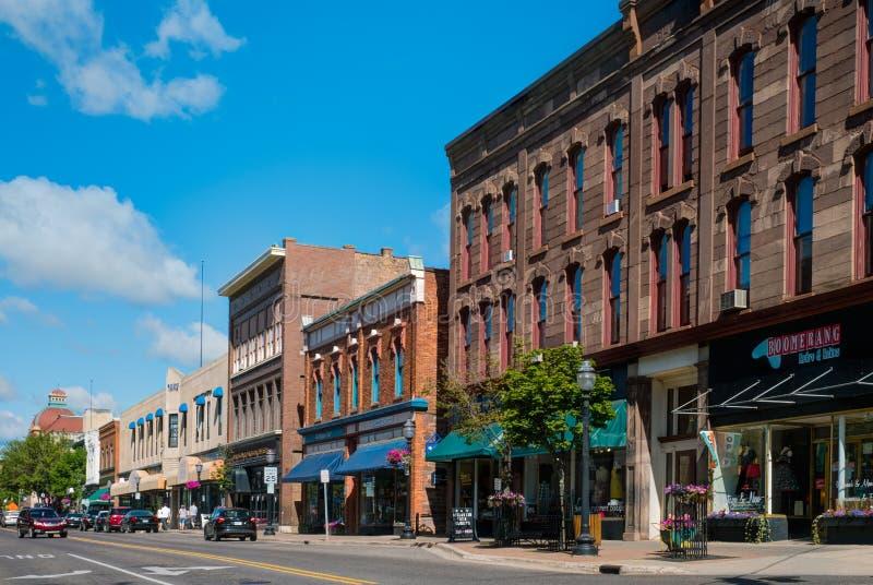 Washington Street, Marquette, Michigan imagen de archivo libre de regalías