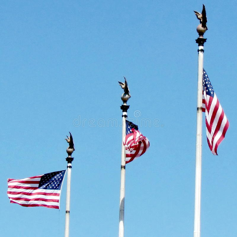 Washington Union Station flags 2013. Three flags of the United States in front of the building of Union Station in Washington DC, USA stock photography
