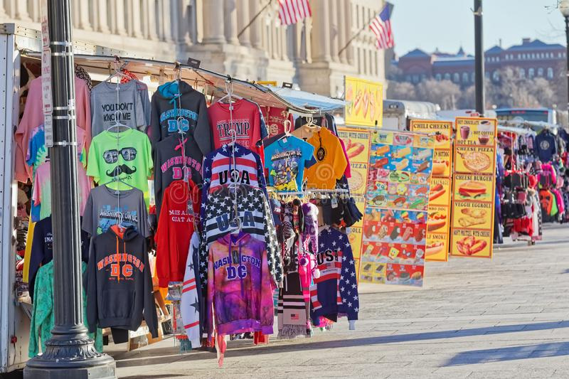 Colorful T-shirts and souvenirs on 14th Street Washington DC stock image