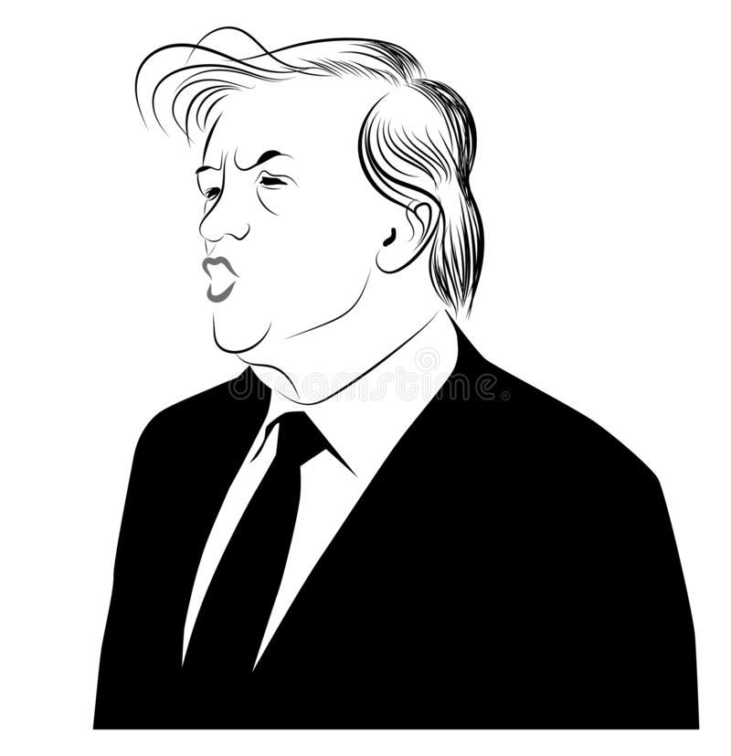 Donald Trump - the President of the USA stock illustration