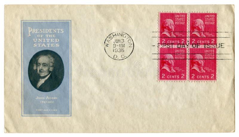 Washington USA - 3 Juni 1938: Historiskt kuvert för USA: räkning med kapselpresidenten av Förenta staterna John Adams 1797-1801, arkivbilder