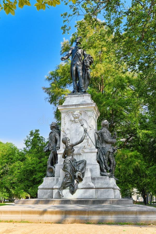 Washington, USA, Lafayette Square and Major General Marquis Gilbert de Lafayette monument. royalty free stock photo