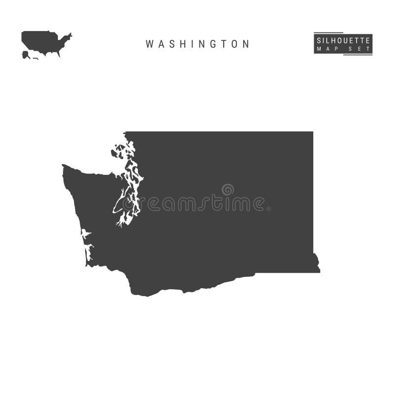 Washington USA påstår vektoröversikten som isoleras på vit bakgrund Hög-specificerad svart konturöversikt av Washington vektor illustrationer