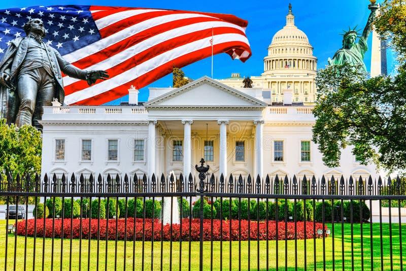 Washington USA, Vita Huset är på norrsidan, och gräsmattan är främst av den fotografering för bildbyråer