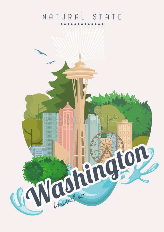 Washington vector american poster. USA travel illustration. United States of America colorful greeting card. Natural state stock illustration