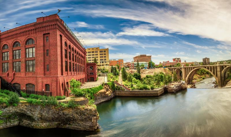 Washington Water Power building and the Monroe Street Bridge in Spokane royalty free stock photography