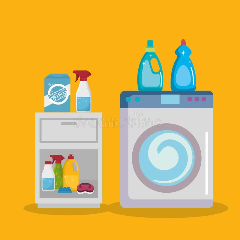 Washmaskin med symboler för tvätteriservice royaltyfri illustrationer