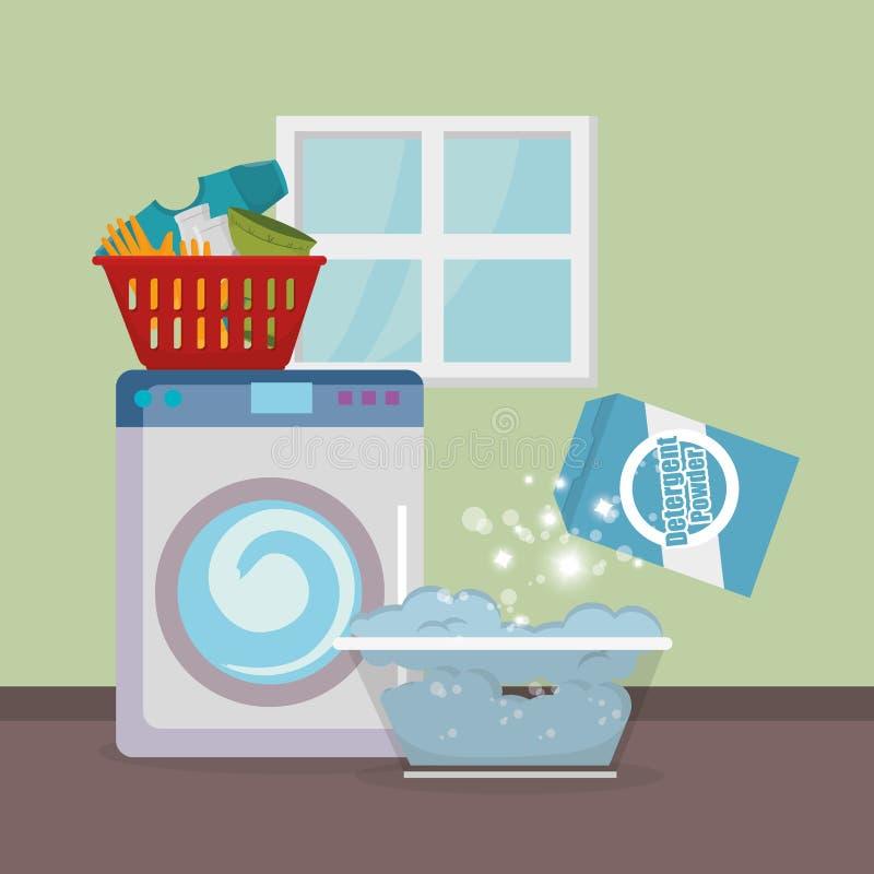 Washmaskin med symboler för tvätteriservice vektor illustrationer