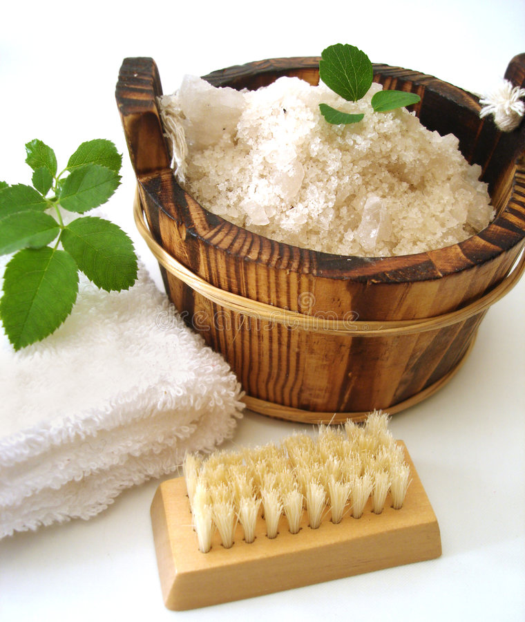 Washtub with bath salt royalty free stock images